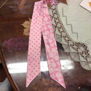 Coach pink polka dot scarf sash